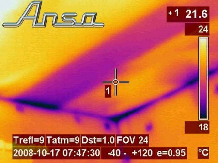 This is a thermal image of a ceiling as you can see the rectangle of pinky/blue colour is much cooler than the rest of the roof. This is where insulation has been installed.